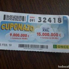 Cupones ONCE: CUPÓN ONCE 15-02-19 EL CUPONAZO DE LA ONCE.. Lote 289740083