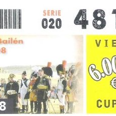 Cupones ONCE: 1 DECIMO O CUPON ONCE - 18 JULIO 2008 - BATALLA DE BAILEN ( JAEN ) 1308-2008 BICENTENARIO. Lote 289761958