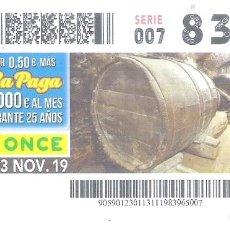 Cupones ONCE: 1 DECIMO O CUPON ONCE - 13 NOVIEMBRE 2019 - ARANDA DE DUERO ( BURGOS - BODEGAS SUBTERRANEAS. Lote 295360573