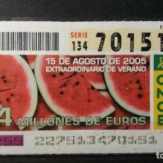 Cupones ONCE: CUPÓN EXTRA DE VERANO.14 MILLONES. 15 DE AGOSTO DE 2005. Nº 70151.. Lote 295403273