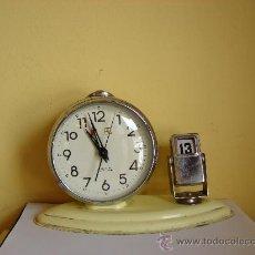 Despertadores antiguos: RELOJ DESPERTADOR ANTIGUO CON CALENDARIO. Lote 229790385