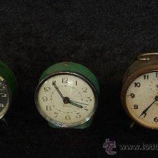 Despertadores antiguos: LOTE DE 3 DESPERTADORES ANTIGUOS.. Lote 27041613