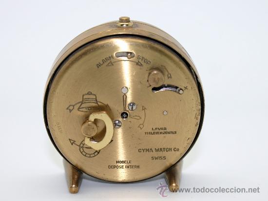 Despertadores antiguos: Reloj despertador ¨CYMA AMIC¨.Metal dorado. - Foto 3 - 30684436