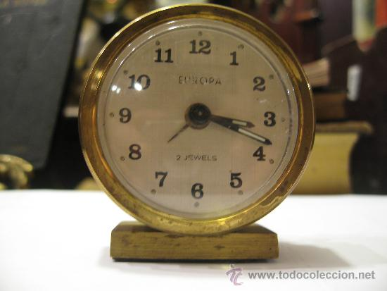 PEQUEÑO RELOJ DESPERTADOR EUROPA, FUNCIONANDO - MEDIDA 6 X 5 CM. (Relojes - Relojes Despertadores)