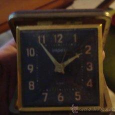 Despertadores antiguos: ANTIGUO RELOJ DE VIAJE, IMPEX CON ALARMA, DESPERTADOR EN SU CAJA FUNCIONANDO . Lote 32148453