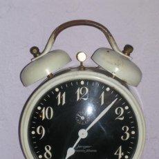Despertadores antiguos: RELOJ DESPERTADOR GRANDE DE CUERDA ANTIGUO JERGER - RUMBO ALARM - GERMANY - FUNCIONA. 25 CM.. Lote 34272874