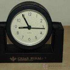 Despertadores antiguos: RELOJ DESPERTADOR CAJA RURAL CREDICOOP. AL PONERLE UNA PILA FUNCIONA. 13,2 CM X 12,6 CM. VER FOTOS. Lote 37563626