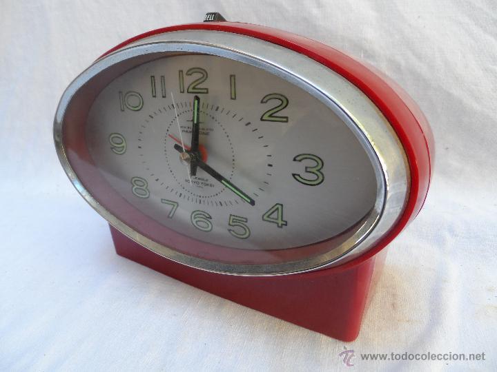 RELOJ DESPERTADOR VINTAGE 7 JEWELS PAIR TONE TOKIO TOKEI COLOR ROJO FUNCIONA AÑOS 60/70 (Relojes - Relojes Despertadores)