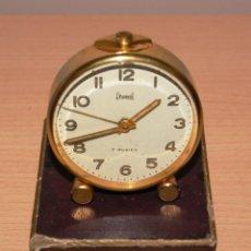 Despertadores antiguos: ANTIGUO RELOJ BRESSEL 7 RUBIES - ESPAÑA - CON ALARMA - FUNCIONA - CON CAJA ORIGINAL. Lote 42863119
