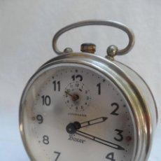 Despertadores antiguos: RELOJ DESPERTADOR JUNGHANS BOXER METAL. Lote 42878694