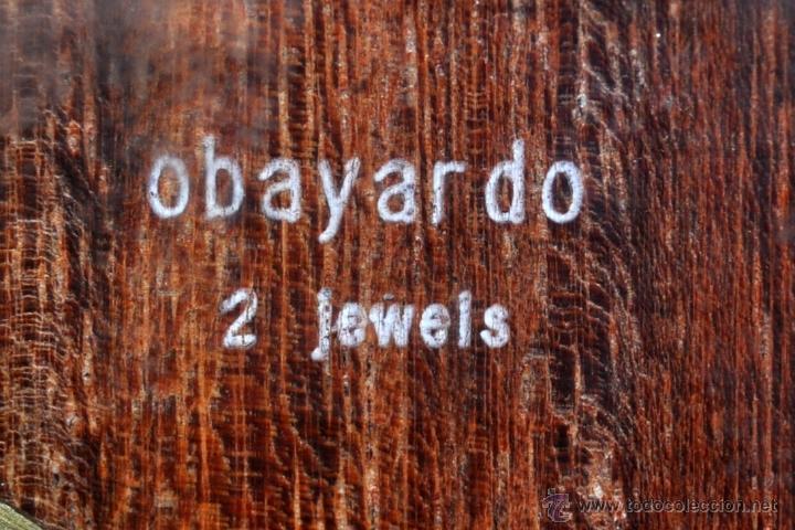 Despertadores antiguos: RELOJ DESPERTADOR MARCA OBAYARDO (2 JEWELS) EN METAL DORADO. MEDIADOS SIGLO XX - Foto 12 - 43752085