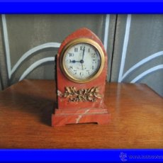Despertadores antiguos: PRECIOSO RELOJ DESPERTADOR DE MARMOL IMPERIO CON BRONCE. Lote 38844248