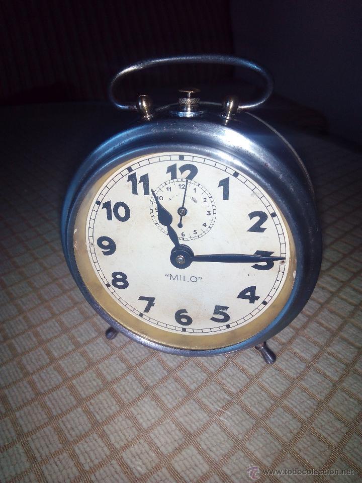 Despertadores antiguos: RELOJ DESPERTADOR MILO - AÑOS 50. FUNCIONANDO. TRATADO INTEGRAMENTE. LEER DESCRIPCION. - Foto 3 - 46796041