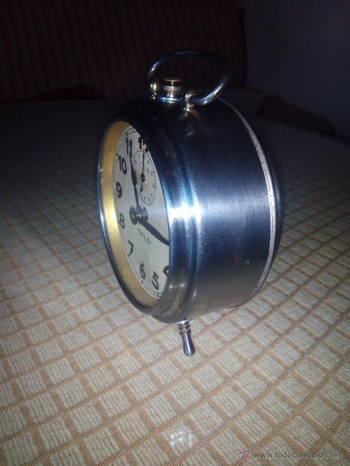 Despertadores antiguos: RELOJ DESPERTADOR MILO - AÑOS 50. FUNCIONANDO. TRATADO INTEGRAMENTE. LEER DESCRIPCION. - Foto 4 - 46796041