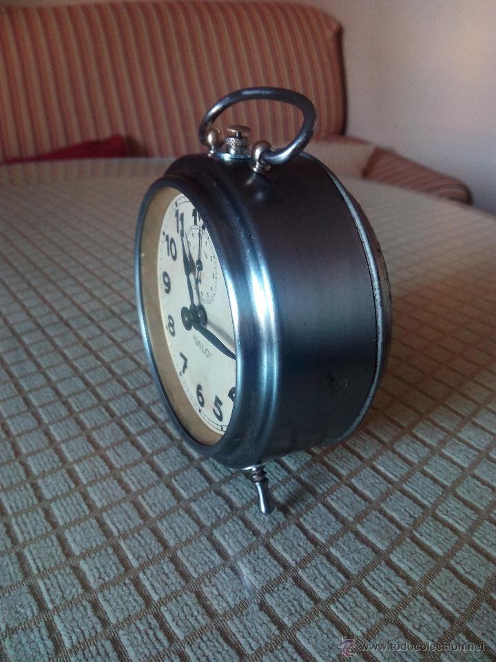 Despertadores antiguos: RELOJ DESPERTADOR MILO - AÑOS 50. FUNCIONANDO. TRATADO INTEGRAMENTE. LEER DESCRIPCION. - Foto 2 - 46796041