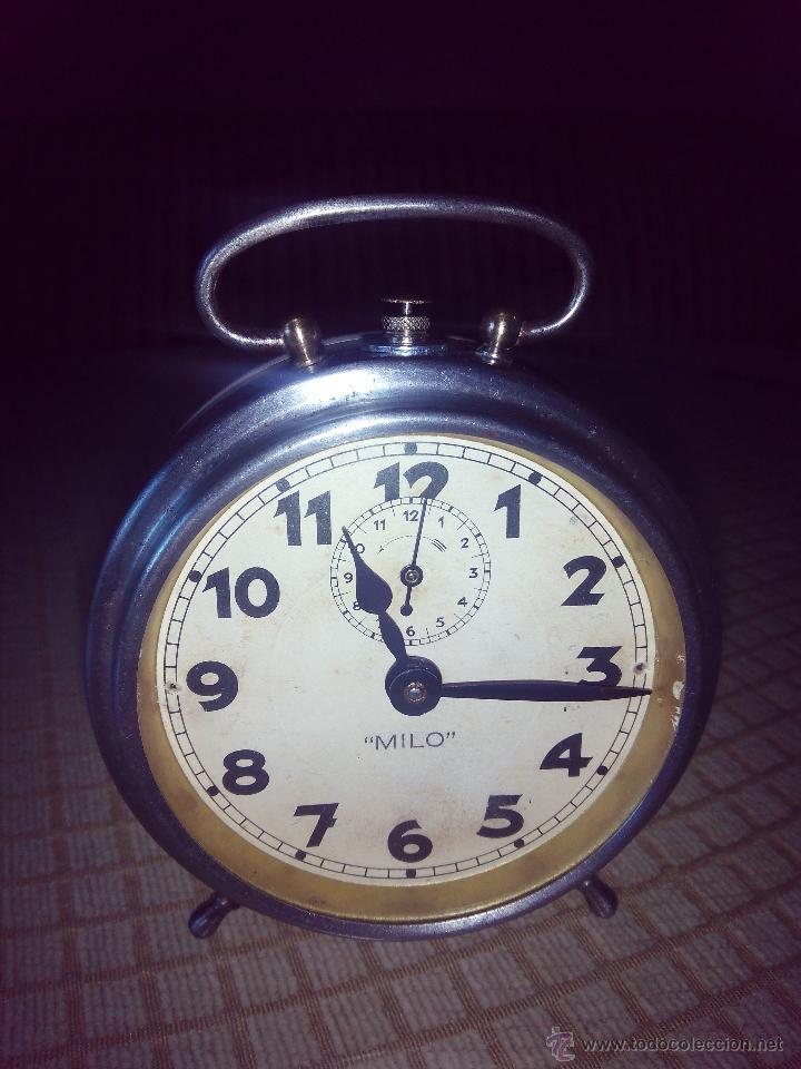 Despertadores antiguos: RELOJ DESPERTADOR MILO - AÑOS 50. FUNCIONANDO. TRATADO INTEGRAMENTE. LEER DESCRIPCION. - Foto 12 - 46796041