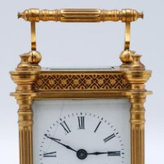 Despertadores antiguos: RELOJ DESPERTADOR VIAJE BRONCE DORADO S XIX ESTADO DE MARCHA. Lote 46805826