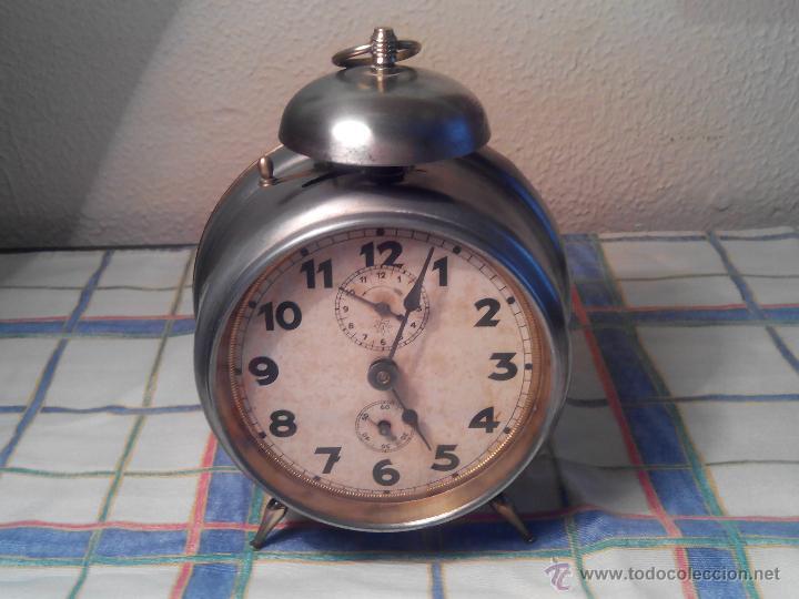 Despertadores antiguos: ANTIGUO DESPERTADOR DE CAMPANA - AÑOS 50 - FUNCIONANNDO. (TESTADO). DESCRIP. Y FOTOS INTER/EXTER. - Foto 3 - 47167548