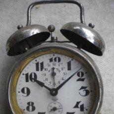 Despertadores antiguos: RELOJ DESPERTADOR DOBLE CAMPANA, NO FUNCIONA,12X13. Lote 48653837
