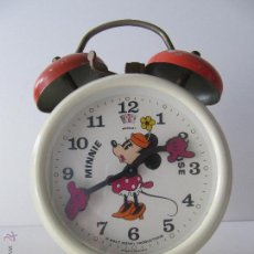 Despertadores antiguos: RELOJ DESPERTADOR BRADLEY MINNIE MOUSE CARGA MANUAL. Lote 49360543