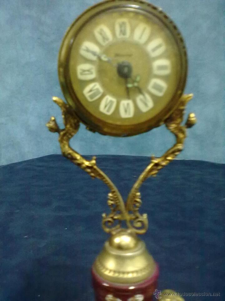 Despertadores antiguos: RELOJ BLESSING BRONCE DORADO PORCELANA WEST-GERMANY - Foto 5 - 49441015