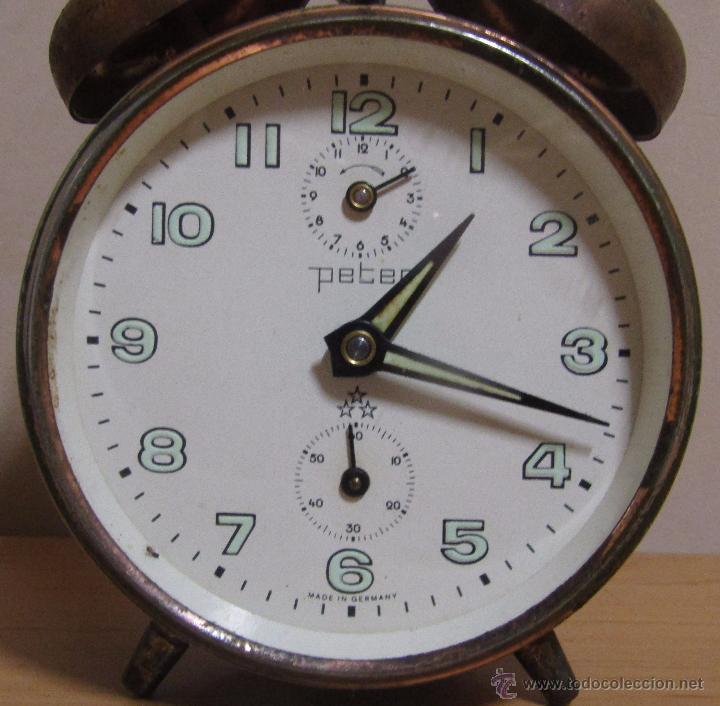 Despertadores antiguos: PETER RELOJ-DESPERTADOR DE CUERDA ANTIGUO MADE IN GERMANY EN FUNCIONAMIENTO - Foto 6 - 54636803