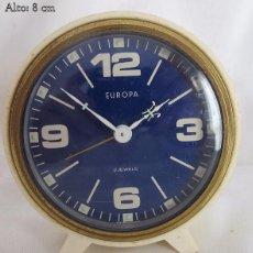 Despertadores antiguos: RELOJ DESPERTADOR ANTIGUO EUROPA BLANCO. Lote 55985404