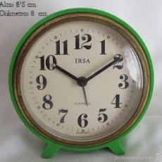 Despertadores antiguos: RELOJ DESPERTADOR ANTIGUO IRSA VERDE. Lote 55985693