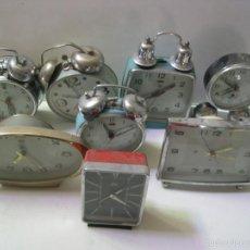 Despertadores antiguos: LOTE DE 8 RELOJES DIVERSOS. Lote 56265121
