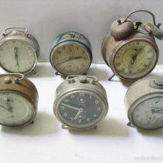 Despertadores antiguos: LOTE DE 6 RELOJES DIVERSOS. Lote 56265178