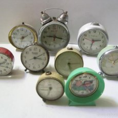 Despertadores antiguos: LOTE DE 9 RELOJES DIVERSOS. Lote 56265198