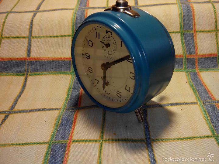 Despertadores antiguos: DESP. ESPAÑOL. META. 1.960. TESTADO AL COMPLETO. MAQUINA EXTRAOR.BELLEZA Y LIMPIEZA. FUNCIONANDO. - Foto 7 - 56287554