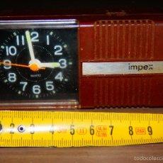 Despertadores antiguos: PEQUEÑO RELOJ DESPERTADOR VINTAGE IMPEX S NO 4RB614 FUNCIONANDO TAL CUAL FOTOS . Lote 57584736