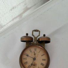 Despertadores antiguos: RELOJ DE 2 CAMPANAS EN BRONCE Y HIERRO MUY ANTIGUO,SIGLO XIX. Lote 57744153