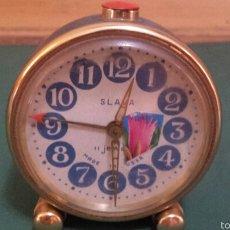 Despertadores antiguos: ANTIGUO RELOJ DESPERTADOR MARCA SLAVA AÑOS 60. Lote 57917151