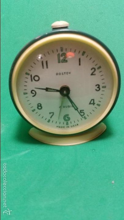 ANTIGUO Y CONSERVADO RELOJ DESPERTADOR A CUERDA ROSTOV 4 RUBIS MADE IN USSR (Relojes - Relojes Despertadores)