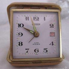 Despertadores antiguos: RELOJ DESPERTADOR DE VIAJE DE CUERDA AÑOS 60/70 Nº 7 CITIZEN. Lote 180105550