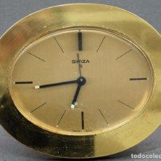Despertadores antiguos: RELOJ DESPERTADOR SWIZA 8 EN BRONCE FUNCIONA. Lote 70142845
