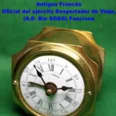 Despertadores antiguos: ANTIGUO FRANCÉS OFICIAL DEL EJÉRCITO DESPERTADOR DE VIAJE, CON FIJO PENDULO,(E.D. BIE SGDG) FUNCIONA. Lote 74143811