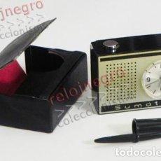 Despertadores antiguos: PEQUEÑO RELOJ DESPERTADOR Y FUNDA - RUHLA SUMATIC - ANTIGUO - VINTAGE - RETRO - DE VIAJE - MÁQUINA. Lote 77885397