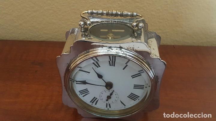 Despertadores antiguos: Reloj despertador francés cromado con áncora a la vista. - Foto 2 - 80956068