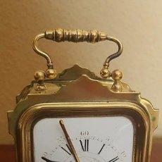 Despertadores antiguos: RELOJ DESPERTADOR DE VIAJE 1850. EN LATÓN CROMADO. ÁNCORA VISTA.. Lote 80970500