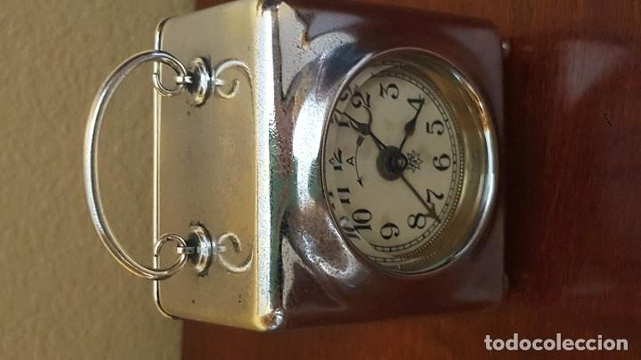 Despertadores antiguos: Reloj despertador francés en latón cromado. Precioso. - Foto 4 - 81629204