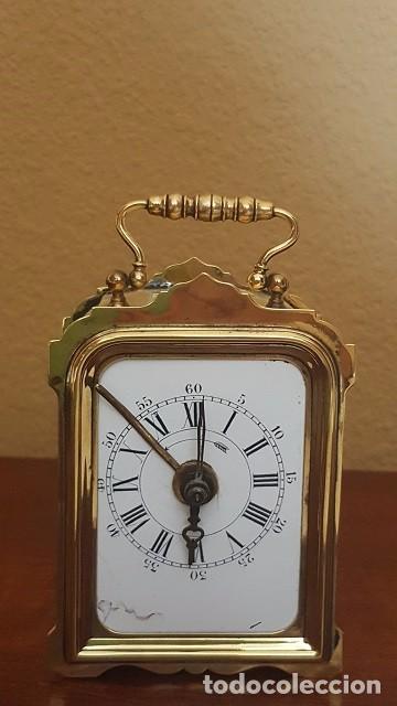 RELOJ DESPERTADOR DE VIAJE FRANCÉS DE 1850. EN FUNCIONAMIENTO. (Relojes - Relojes Despertadores)