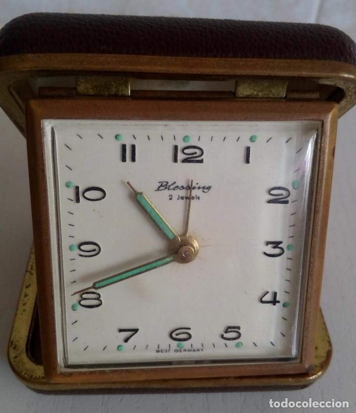 INTERESANTE RELOJ DESPERTADOR DE VIAJE DE CUERDA MARCA BLESSING ALEMANIA OCCIDENTAL AÑOS 50/60 2JEW (Relojes - Relojes Despertadores)