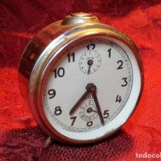 Despertadores antiguos: RELOJ DESPERTADOR CARGA MANUAL MARCA I.R.E FABRICADO EN ESPAÑA ALTURA 10CM (REF-PEÑ1). Lote 86696380