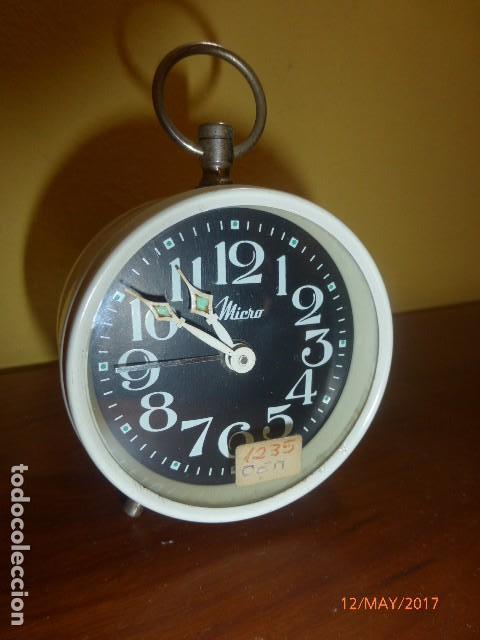 RELOJ DESPERTADOR MICRO. CARGA MANUAL. AÑOS 70 VINTAGE. A ESTRENAR, DE STOCK DE RELOJERÍA (Relojes - Relojes Despertadores)