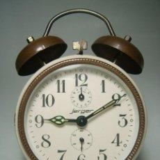 Despertadores antiguos: DESPERTADOR JERGER, DOBLE CAMPANA. CARGA MANUAL. Lote 95168963
