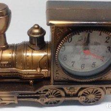 Despertadores antiguos: RELOJ DESPERTADOR MAQUINA DE TREN QUARZ. Lote 98841675