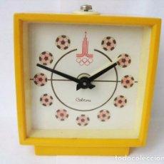 Despertadores antiguos: RELOJ DESPERTADOR SOVIETICO .OLIMPIADA -MOSCU -1980.URSS. Lote 103210987